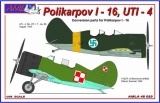 Polikarpov I-16, UTI-4 PL/FIN, resin conversion set+decals; 1:48