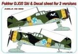 Fokker D.XXI Skis & decal sheet for 2 ver. Conversion set; 1:48