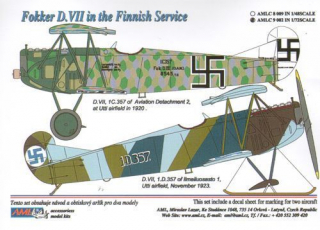 Dekály Fokker D.VII in the Finnish Service; 2 ks; 1:72